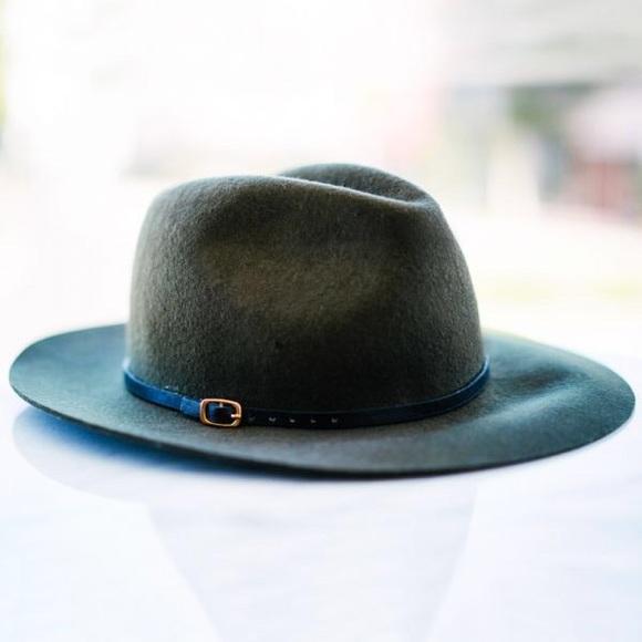 57d5dd1196b Topshop Classic Fedora - 100% wool olive green hat